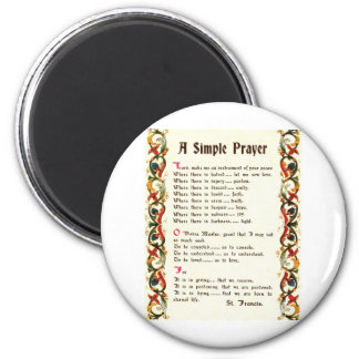 simple prayer by St. Francis of Assisi 6 Cm Round Magnet