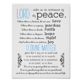 Simple prayer by St.Francis of Assisi Poster