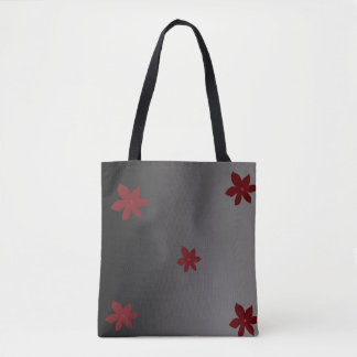 Simple Pretty Black and Red Flower Tote Bag