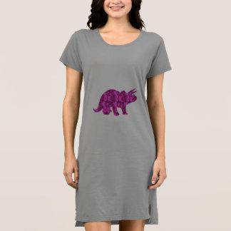 Simple Pretty Pink Dinosaur Print for Women Dress