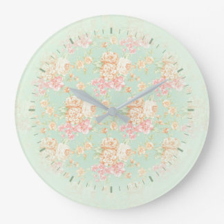 Simple Pretty Rose Print Floral Large Clock
