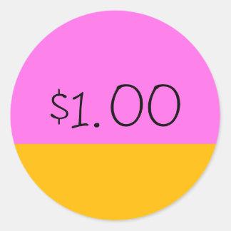 Simple Price Tag Sticker - Pink/Orange