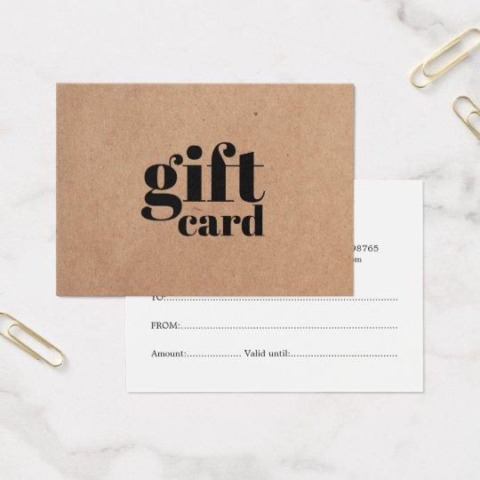 Simple Printed Kraft Beauty Gift Certificate
