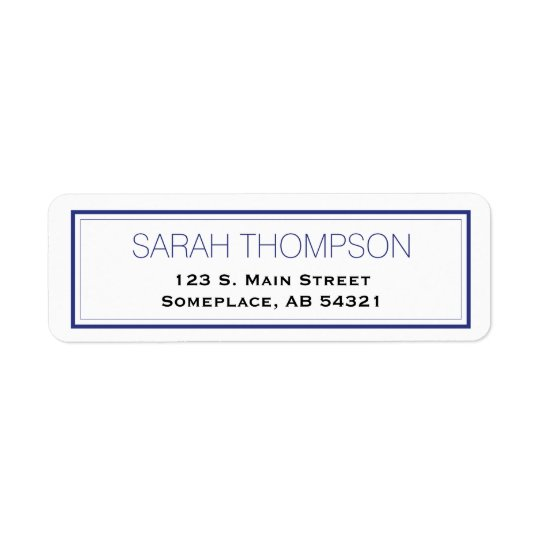 Simple Professional Blue Stripe Border Labels