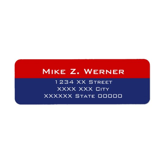 simple professional red/blue return address label