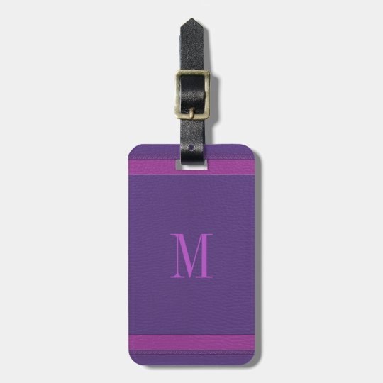 Simple Purple And Pink Fox Leather Look Bag Tag