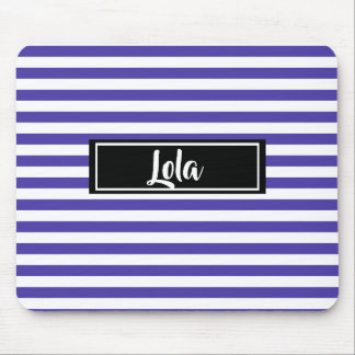 Simple Purple and White Stripes Striped Name Mouse Pad