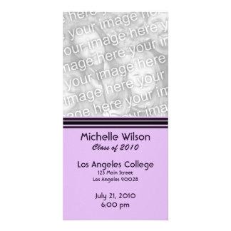simple purple black graduation custom photo card