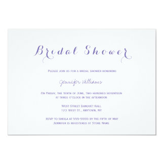Simple purple bridal shower invitations