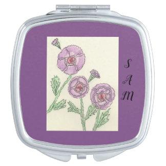 Simple Purple Flowers Vanity Mirror