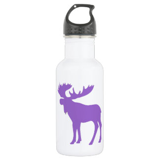 Simple purple moose symbol 532 ml water bottle