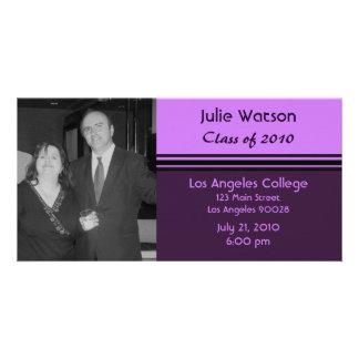 simple purple pink graduation photo card