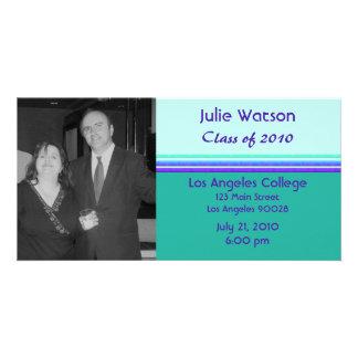 simple purple turquoise graduation personalized photo card