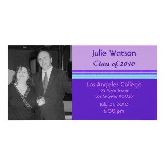 simple purple turquoise graduation photo card template