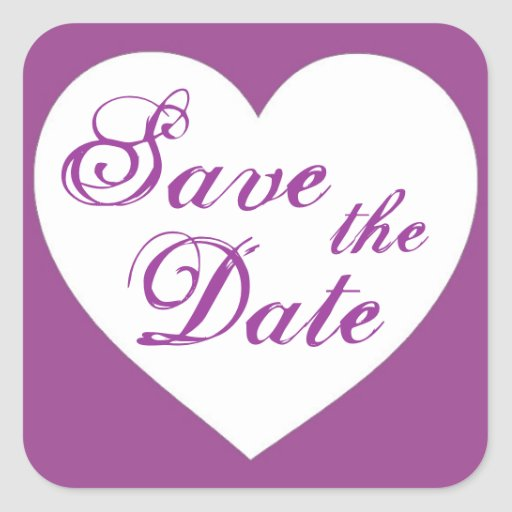 Simple purple white heart save the date stickers