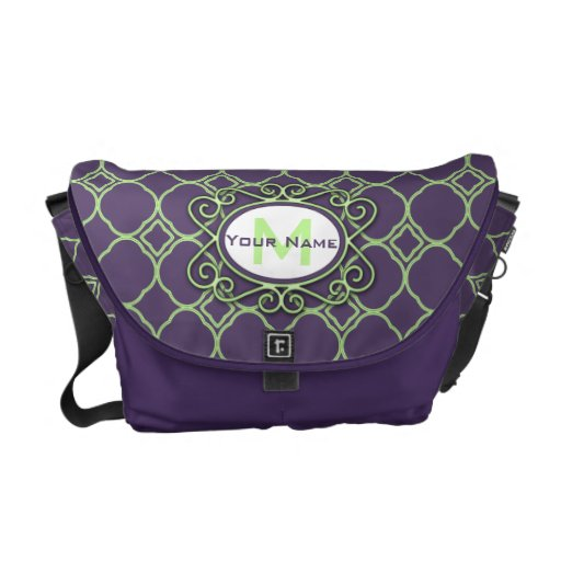 Simple Quatrefoil Pattern in Purple and Lime Green Messenger Bag