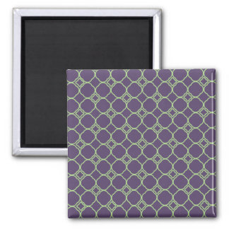 Simple Quatrefoil Pattern in Purple and Lime Green Square Magnet