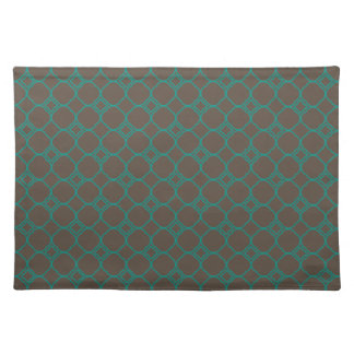 Simple Quatrefoil Pattern in Teal Green and Taupe Placemat