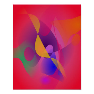 Simple Red Abstract Painting Poster