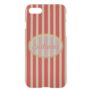 Simple Red and Beige Stripes - Classic Design iPhone 8/7 Case