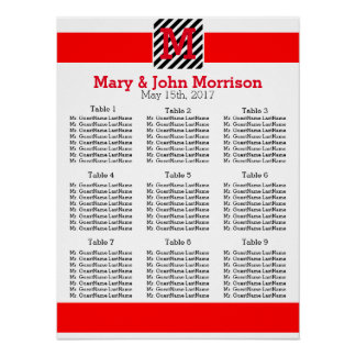 Simple Red and Striped Wedding Seating Chart Poster