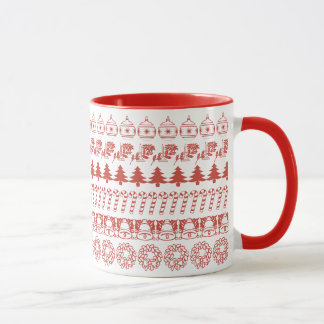 Simple Red and White Rows Christmas Pattern Mug