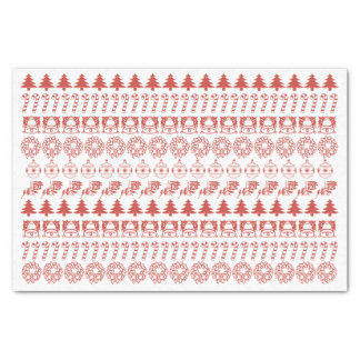Simple Red and White Rows Christmas Pattern Tissue Paper