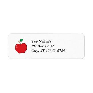 Simple Red Apple Return Address Label