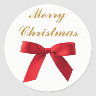 Simple Red Bow Merry Christmas or Happy Holidays Classic Round Sticker