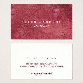 Simple red burgundy watercolor sommelier business card