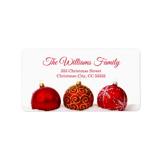 Simple Red Christmas Balls Address Label