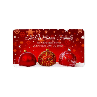 Simple Red Christmas Balls Red Address Label