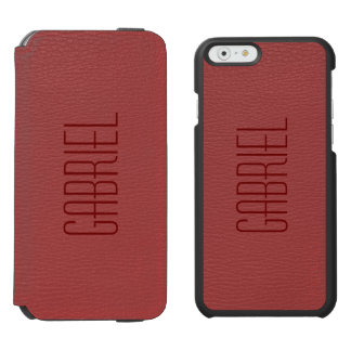 Simple Red Faux Leather Look Monogram Incipio Watson™ iPhone 6 Wallet Case
