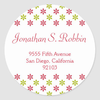 Simple red green Christmas holiday address label Round Sticker