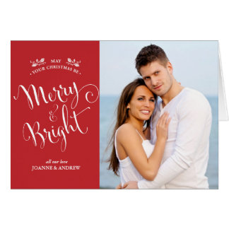 Simple Red Merry & Bright Christmas Photo Card