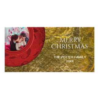 Simple Red Merry Christmas Faux Gold Foil Card