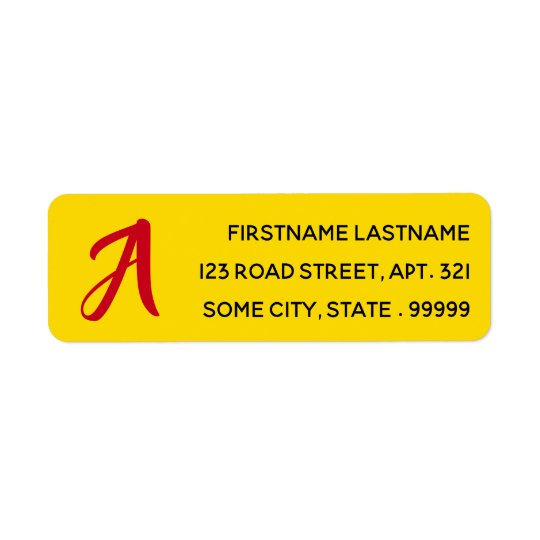 Simple Red Monogram Initial Letter on Yellow Return Address Label