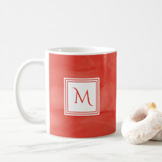 Simple Red Orange Subtle Marble Modern Monogram Coffee Mug