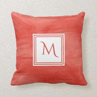 Simple Red Orange Subtle Marble Modern Monogram Cushion