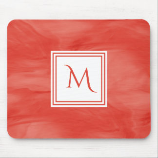 Simple Red Orange Subtle Marble Modern Monogram Mouse Pad