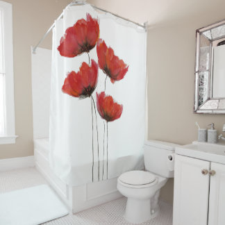 Simple Red Poppy Print Shower Curtain