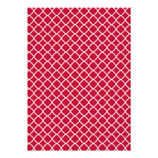 Simple Red Quatrefoil Christmas Holiday Pattern Invitations