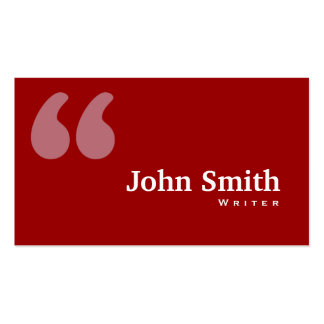 Simple Red Quotes Writer Business Card