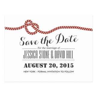 Simple Red Rope Knot Wedding Save the Date Post Cards