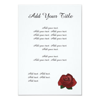 Simple Red Rose Wedding Stationary Invite