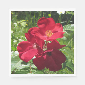 Simple Red Roses Disposable Serviette