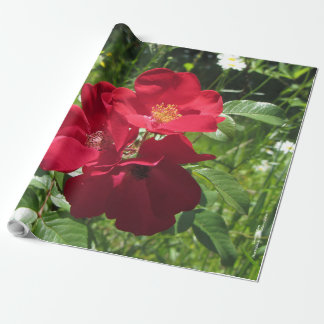 Simple Red Roses Floral Wrapping Paper