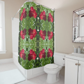 Simple Red Roses, geometric Shower Curtain
