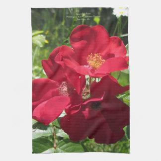 Simple Red Roses Tea Towel