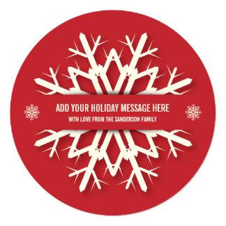 Simple Red Snowflake Christmas Photo Card   Round 13 Cm X 13 Cm Square Invitation Card